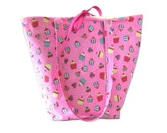 Cupcake Tote Bag, Pink Cloth Purse, Handmade Handbag, Birthday Tote Bag, Polka Dots, Fabric Bag, Shoulder Bag
