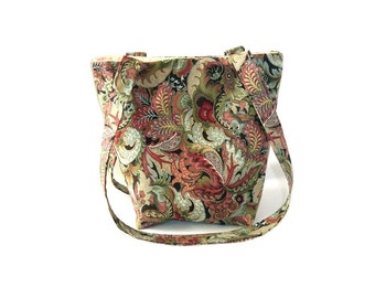 Paisley Purse, Floral Cloth Purse, Small Fabric Bag, Handmade Handbag, Green, Beige, Pink, Blue, Teen Purse, Girls Purse
