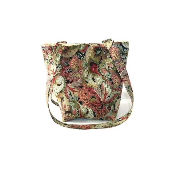 Paisley Purse, Floral Cloth Purse, Small Fabric Bag, Handmade Handbag, Green, Beige, Pink, Blue, Teen Purse, Girls Purse