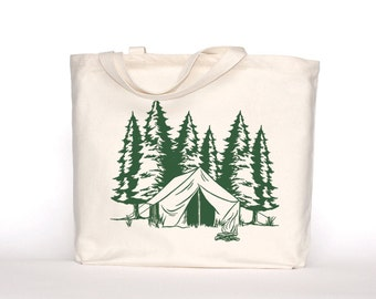 Camping Canvas Tote Bag-Screen Printed Cotton Grocery Bag-Large Canvas Shopper Tote-Market Bag-Reusable Grocery Tote Bag-Mountain Camping