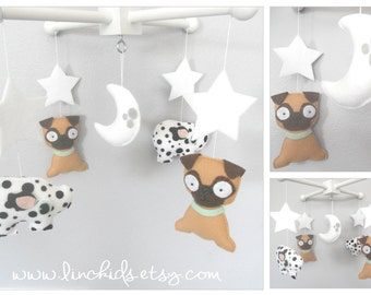 Baby Crib Mobile-Dogs Mobile,Pugs and Pigs  Mobile- Custom Pets Mobile