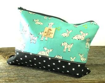 Aqua Lamb Print Knitting Project Bag, Needle Case, Cotton, IN STOCK