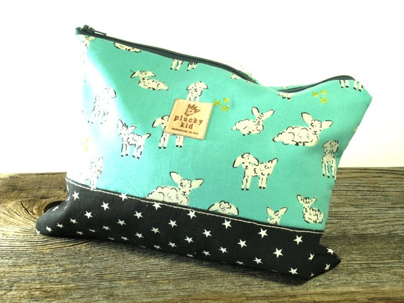 Knitting Project Bags For Sale : Sale aqua lamb print knitting project bag needle case by
