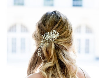 Handmade pearls vine hair piece, Wedding Pearl Hair Piece, Vine hair piece, Bridal Hair Comb, Vintage wedding, Large Pearl Comb, Bridal Hair
