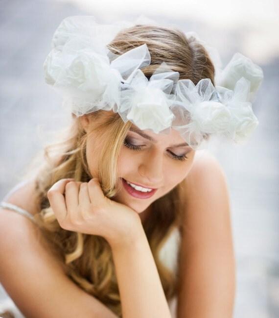 Wedding White Rose Halo Wedding Flower Hair Clip Wedding Flower
