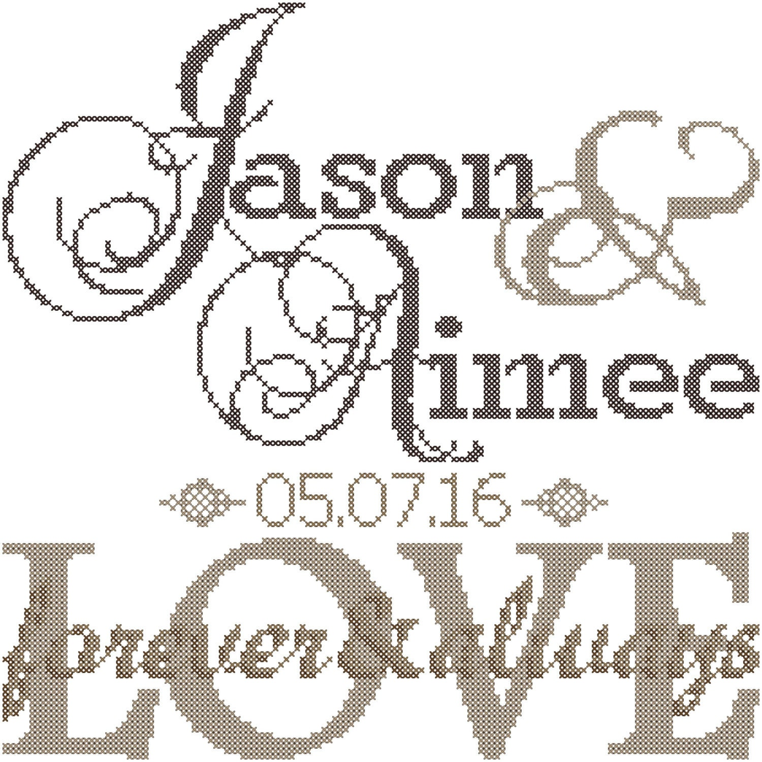 Modern wedding cross stitch pattern forever always love