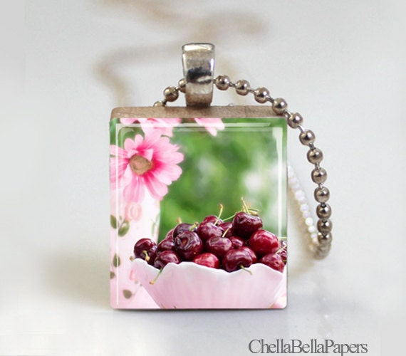 Pink Bowl of Red Cherries - Scrabble Tile Pendant - Free Ball Chain Necklace or Key Ring
