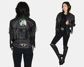 Black FRINGE Leather Moto Jacket Vtg 80's UNIK Premium Patched Harley Davidson MOTORCYCLE Biker Grunge Rock Distressed - Medium/Large