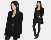 Black VELVET Blazer Jacket Vtg 90s JS Collections Straight Fitted Long Sleeve GOTH Witchy Minimalist Shoulder Padding Coat - Medium/Large