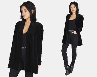 Black VELVET Blazer Jacket Vtg 90s JS Collections Straight Fitted Long Sleeve GOTH Witchy Minimalist Shoulder Padding Coat - Medium/Large