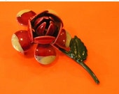 Small Red And Grey Enameled Flower Brooch