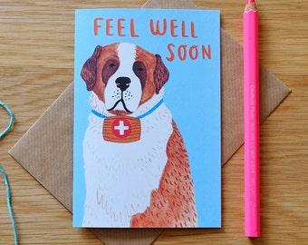 Illustrated Get Well Soon St Bernard Card
