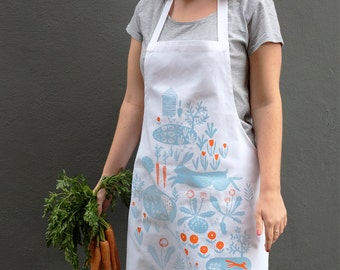 SALE Allotment Print Apron, screen printed & made in the UK