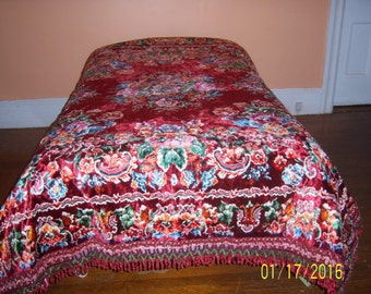 1940s Italian Wedding Quilt - Vintage Velvet Chenille - Coverlet Sofa Throw Cover - Chenille bedspread - Tapestry - Wall Hanging - Bed Cover