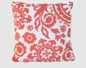 Coral white decorative pillow cushion cover.  1 cover for 18x18 pillow insert. Shabby chic cottage decor nursery cofa pillow throw pillow