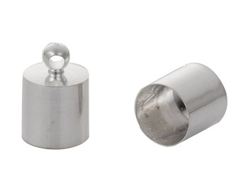 10 Silver Plated End Caps for Kumihimo Jewelry, Leather Cord End Connectors, Bails, Bead Caps, Fits up to 7.5mm cord, fin0573