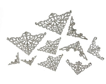 50 Silver Tone Vintage Style Filigree Flat Metal Findings, MIXED SIZES, Bulk package, fil0066