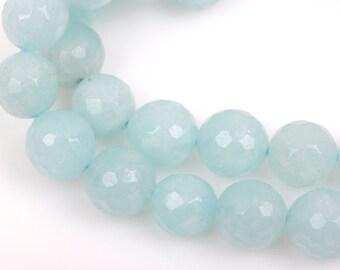 10mm Round Faceted ICE BLUE JADE Gemstone Beads, full strand gjd0127