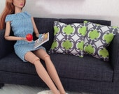 Set of 2 retro mod pillows in green, grey, and white for one sixth scale dioramas