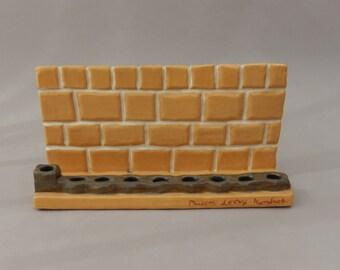 Hanukah Menorah - Pottery Western Wall Hanukiah - Judaica