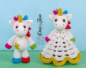 Combo Pack - Nuru the Unicorn Lovey and Amigurumi Set for 5.99 Dollars - PDF Crochet Pattern - Instant Download - Special Offer Pack