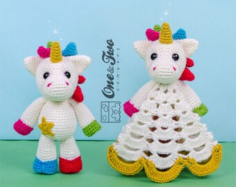 Combo Pack - Nuru the Unicorn Lovey and Amigurumi Set for 7.99 Dollars - PDF Crochet Pattern - Instant Download - Special Offer Pack