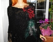 poncho handmade knitted black poncho/romantic rock tattered floral asymmetrical fringed boho poncho  women accessories by goldenyarn