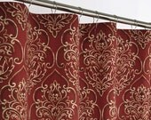 RED DAMASK Shower Curtain - SOUTHWEST - 72 wide x (72, 78, 84, 90, 96 long) - Brick Red
