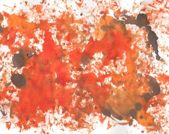 "Original Painting - 5"" x 7"" - Abstract - Multicolored India Ink Painting - 2015-489"