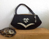 Vintage Embellished Corde Handbag Pretty Evening Rhinestone Purse