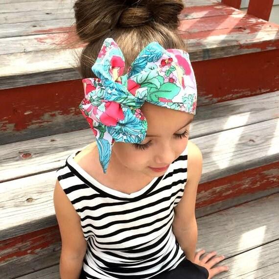 HEAD SCARF - Summer Bouquet print head wrap/scarf / headband / adult / spring / summer / women, child, baby, girl, wrap