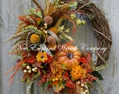 Fall Wreath, Autumn Wreaths, Pumpkin Wreath, Thanksgiving Wreath, Harvest Wreath, Fall Woodland Wreath, Designer Fall Wreath