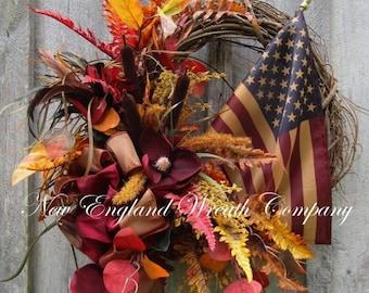 FALL SALE Fall Wreath, Autumn Wreath, Patriotic Wreath, Americana Wreath, Elegant Fall Wreath, Woodland Patriotic Wreath, Tea Stained Flag