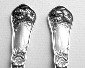 Vintage WILDWOOD Citrus Spoons Oneida Community Reliance Plate Silverplate Art Nouveau Flatware Circa 1908