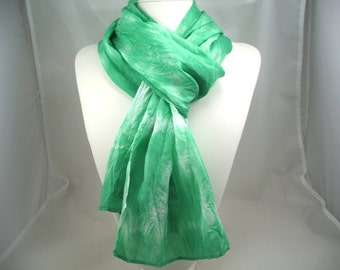 Tie Dyed silk scarf Mint Green Hand Painted scarf women's silk accessories sash belt neck tie head band