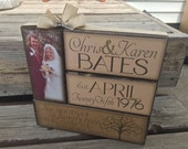 Wedding/Engagement/Anniversary Stacker with photo--Beautiful way to showcase couple