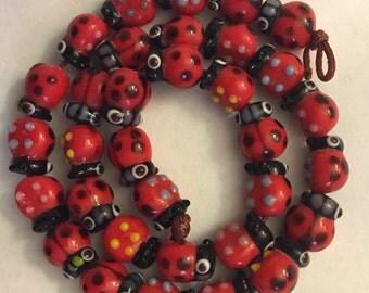 "Lucky Ladybug Beads Red Black Blue Yellow 15  Beads 3/8"" x 2/8"" Glass"