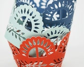 Fiesta Pattern Cupcake Wrappers In your choice of color Qty 12