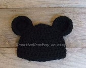 Mickey / Minnie Mouse Inspired Hat - Newborn OR 3-6 Month sizes
