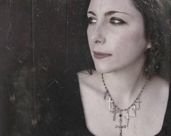 Gothic Cross Necklace. Mina Harker. Dark Moon Version. Vintage Rosary Necklace