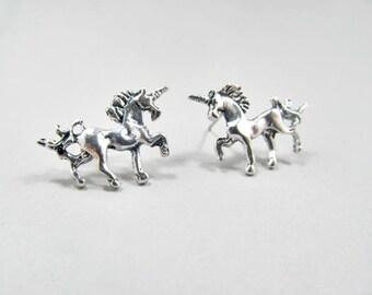 Unicorn Stud Earrings small silver stud earrings