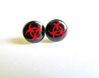 Biohazard Stud Earrings Zombies