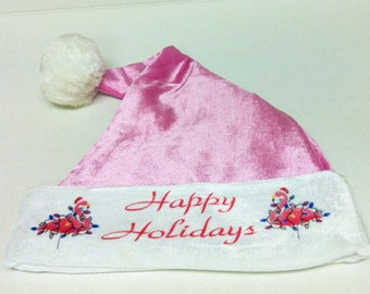 Pink Flamingo Plush Santa Hat for Holidays, Christmas Parties