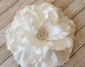 """White Fabric Flowers Large 4.5"""" silk flower with crystal pearl center floral corsage flower DIY hair flower headband flower Nancy Collection"""