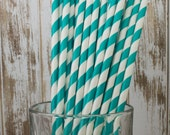 """25 Dark Aqua barber striped paper drinking straws - biodegradable with FREE Blank Paper Flags.  See also - """"Personalized"""" flags option."""