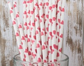 """100 red hearts valentine's paper drinking straws - with FREE Blank Flag Template.  See also - """"Personalized"""" flags option."""
