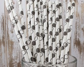 25 Black and white circle polka dot paper drinking straws  & FREE Blank Flag Template.  See also - Personalized flags option.