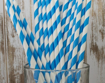 "100 Blue and white barber striped paper drinking straws -  with FREE DIY Flag Template.  See also - ""Personalized"" flags option."