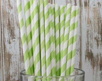 "25 light green and white striped paper drinking  straws -  with FREE DIY Flag Template.  See also - ""Personalized"" flags option."