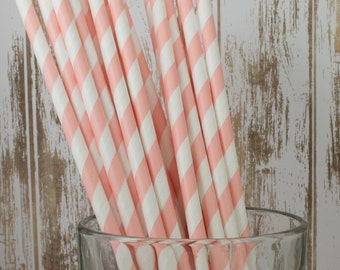 """Paper straws - 100 Peach Blush barber striped paper drinking straws - with FREE DIY Flag Template.  See also - """"Personalized"""" flags option."""